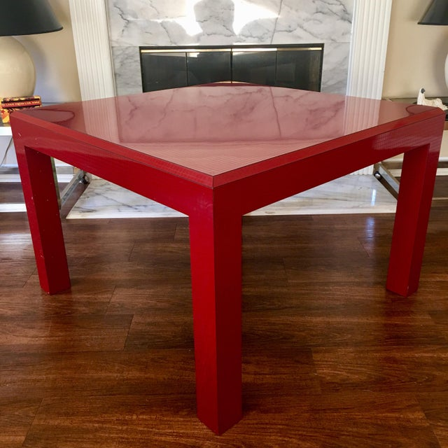 Postmodern Red Occasional Table With Graph Pattern For Sale - Image 9 of 9
