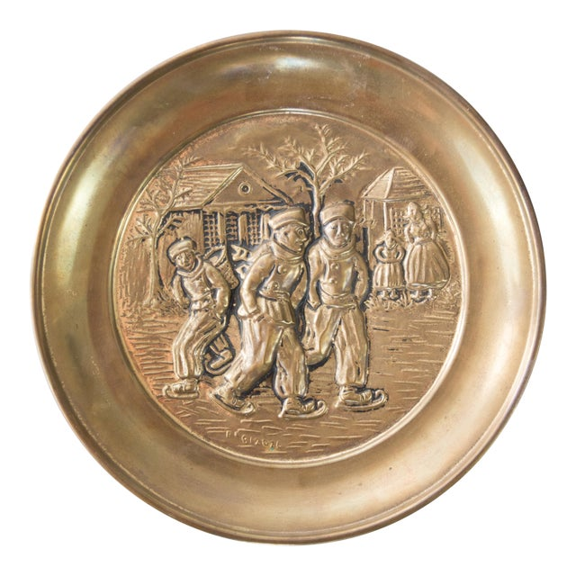 English Hammered Brass Plate Winter Scene With Figures For Sale
