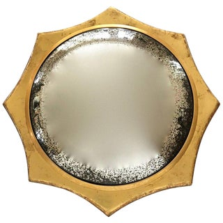 1950s Italian 22-Karat Water Gilt Soleil Sunburst Wall Mirror For Sale