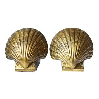 Hollywood Regency Brass Sea Shell Bookends - a Pair For Sale