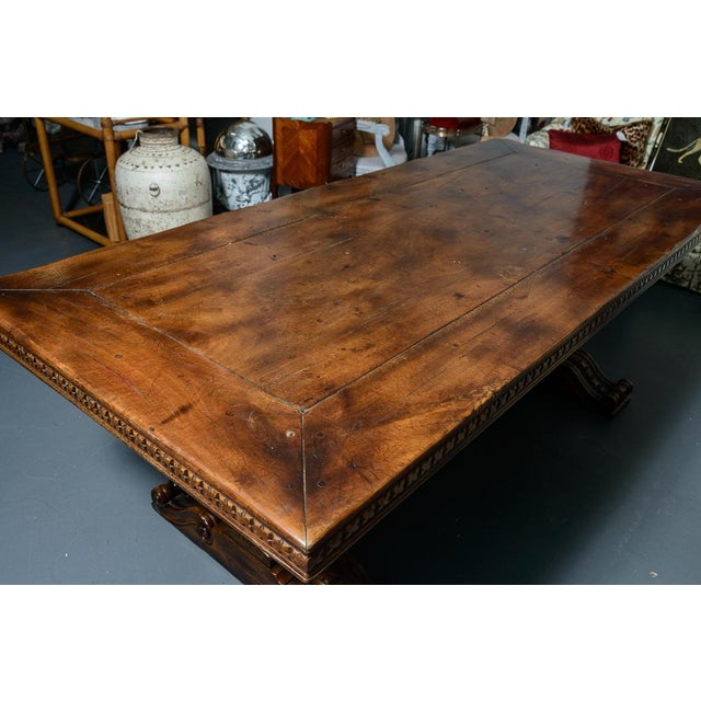 Tan French Antique Hand Carved Oak Wood Trestle Library Table For Sale - Image 8 of 12