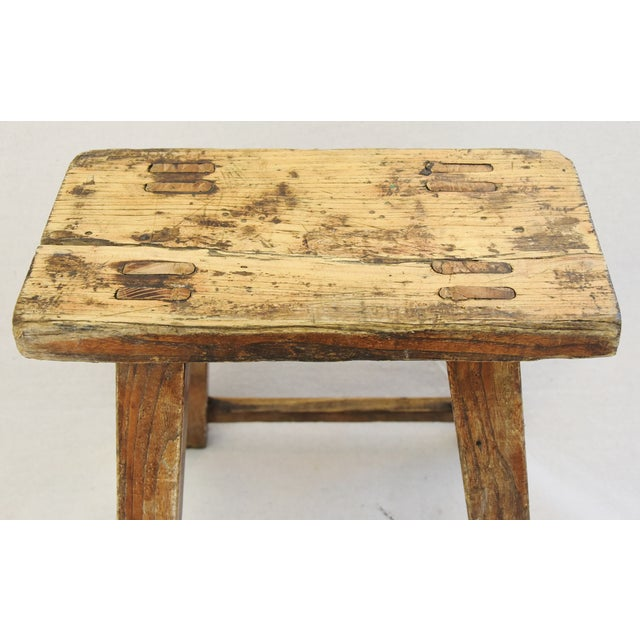 Rustic Primitive Country Wood Farmhouse Stool For Sale In Los Angeles - Image 6 of 11
