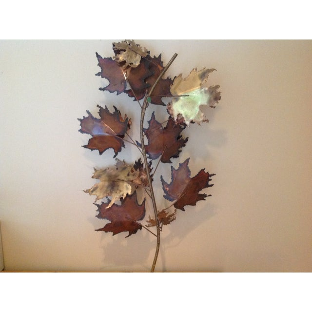 C Jere Brass Autumn Leaves Wall Sculpture, 1971 - Image 5 of 6