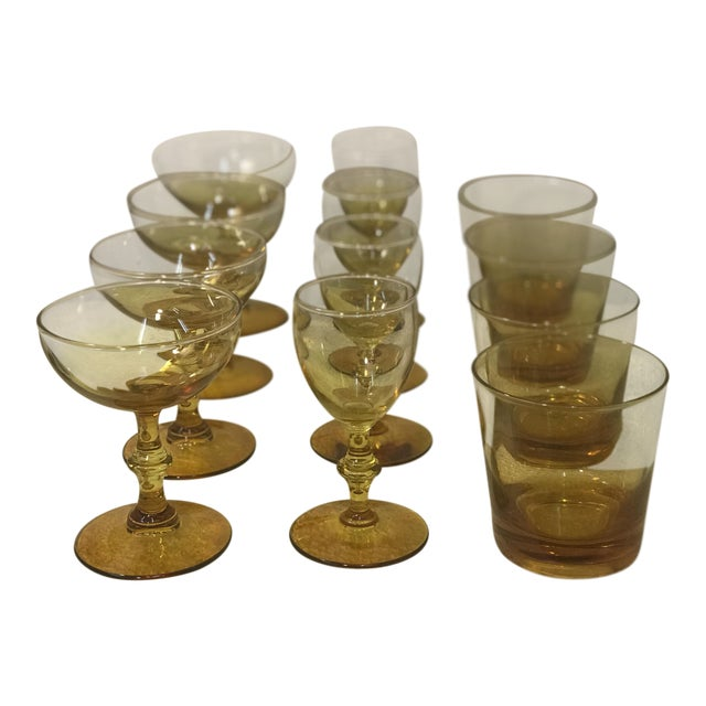 1960s Yellow Carlo Moretti Style Bar Glass Set of 12 For Sale