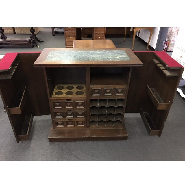 Brown Asian Teak Marble Top Fold Out Bar For Sale - Image 8 of 11