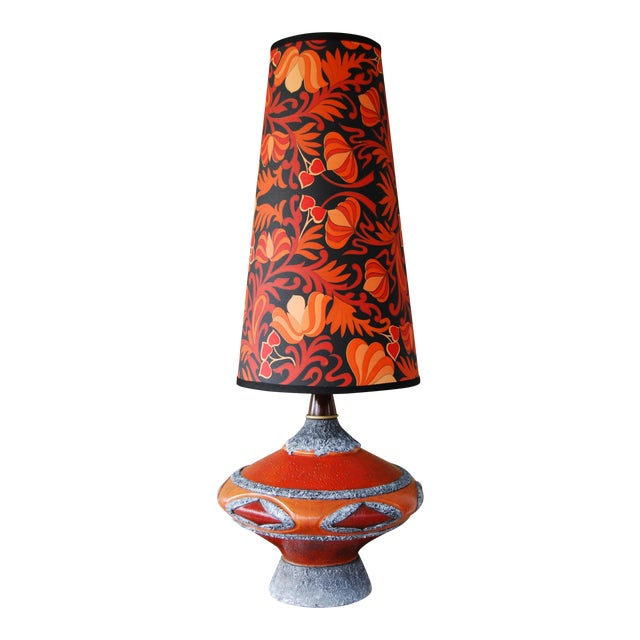 '60's Fat Lava-Inspired Chalkware Table Lamp & Custom Shade For Sale