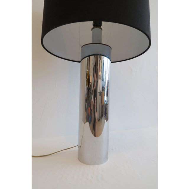 Mid-Century Modern Vintage Chrome Column Table Lmap For Sale - Image 3 of 5