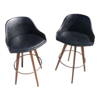 1950s Mid-Century Modern Black Leatherette Bar Stools - a Pair For Sale