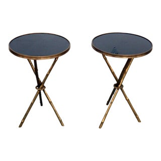 Pair of Regency Style Granite Top End Tables For Sale