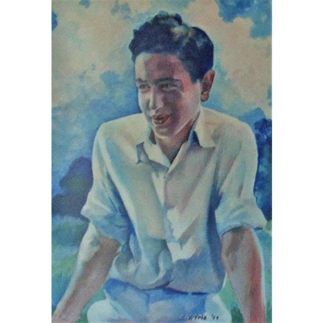 This is one of two portraits of young men that I have for sale. Both by artist E. V. Tris. c. 1944. Watercolor on paper,...