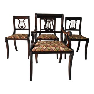 1930's Lyre-Back Dining Chairs Set-4, One Arm Chair For Sale