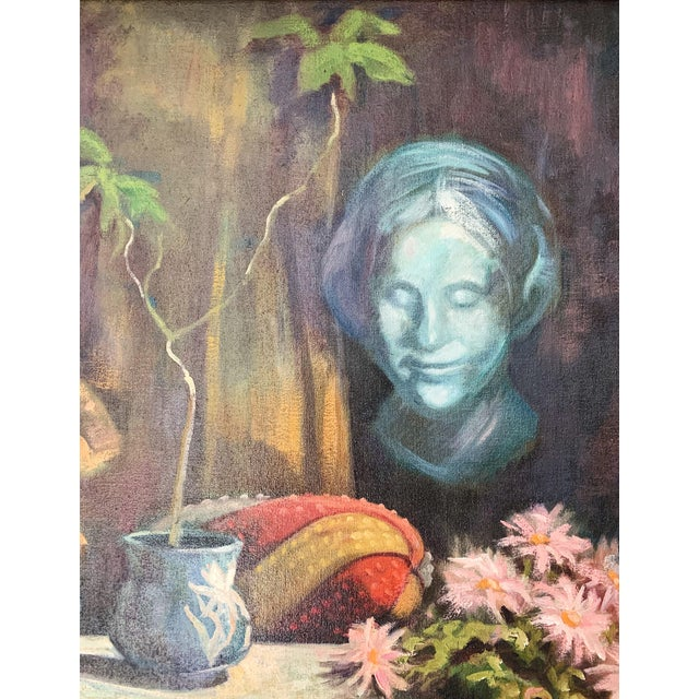 Modern 1960s Vintage Sharon Johnson Oil on Canvas Still Life Painting For Sale - Image 3 of 7