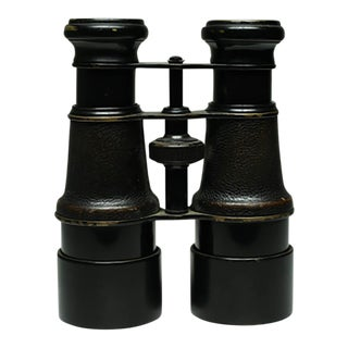 Early 20th C. Leather Wrapped Binoculars, Paris, France C. 1890s
