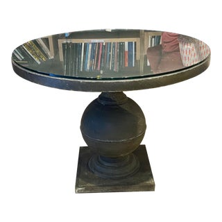 Round Pewter Table With Glass Top For Sale