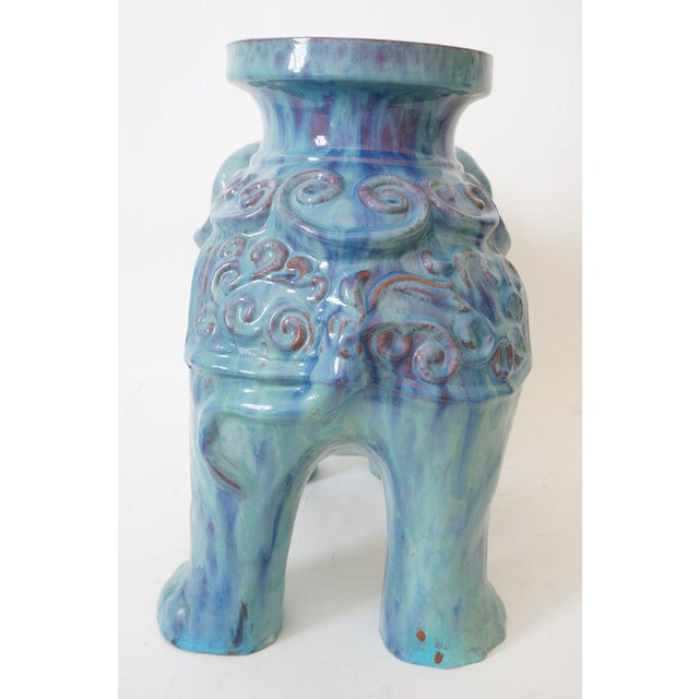 1960s Mid-Century Elephant Figure Garden Stool or Drinks Table Blue Glazed Terra Cotta From Italy For Sale - Image 5 of 11