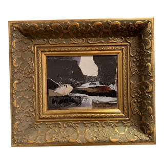Joe Adams Gold Framed Mixed Media Collage For Sale
