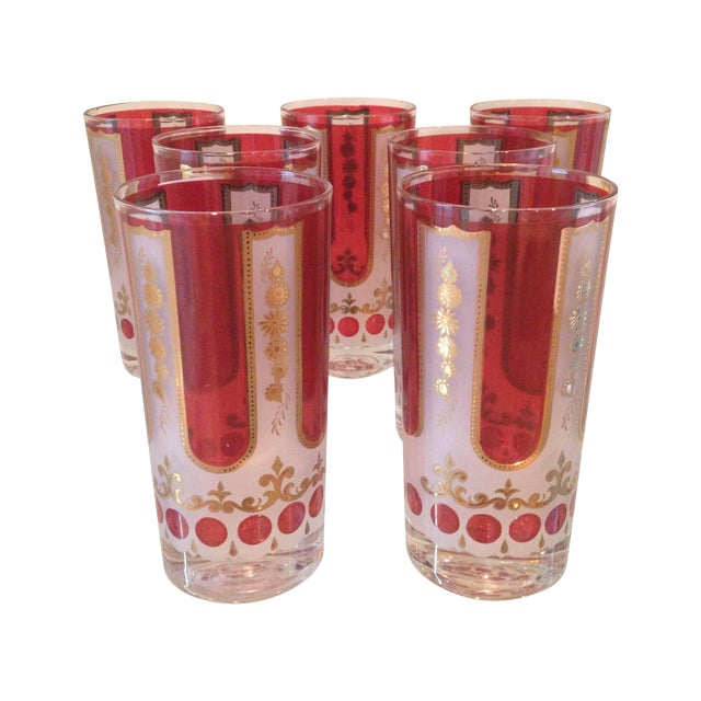 Red and Gold Mid Century Highball Glasses - 7 - Image 1 of 4