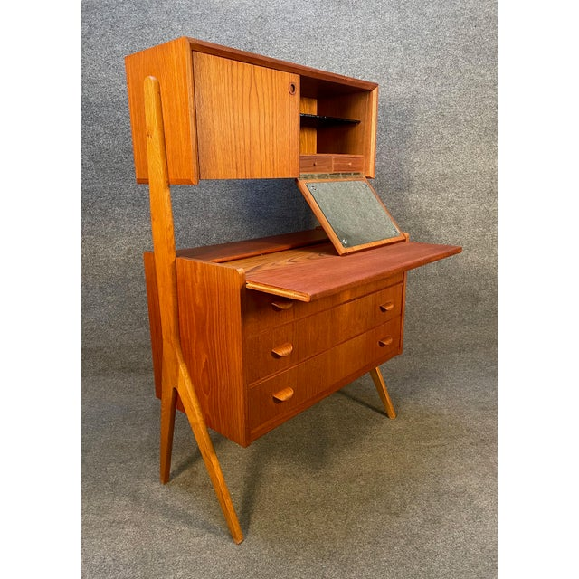 Wood Vintage Danish Mid Century Modern Teak and Oak Secretary Desk Vanity For Sale - Image 7 of 11