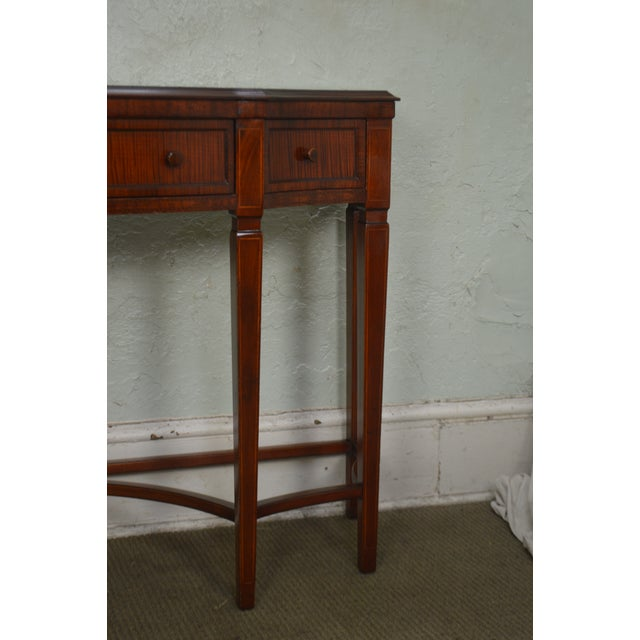 Regency Style 1930s Inlaid Satin Wood Console Sideboard For Sale In Philadelphia - Image 6 of 13