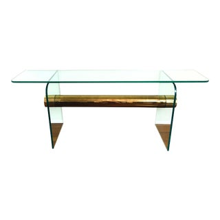1970s Ultra Modern Glass & Brass Beam Console Sofa Table For Sale