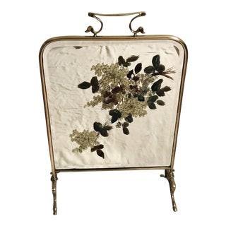Vintage Art Deco 1930s Brass Beveled Mirror Painted Fireplace Screen For Sale