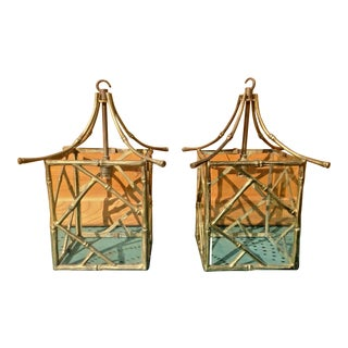 C. 1930's French Maison Bagues Gilt Bronze Pagoda Form Faux Bamboo Lanterns - a Pair For Sale