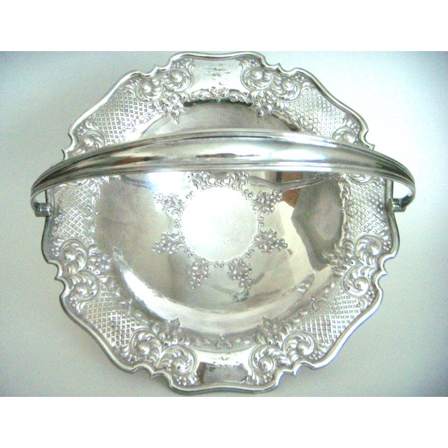 Cottage Antique Lloyd, Payne & Ariel Silver Cake Stand, Swing Handle For Sale - Image 3 of 6