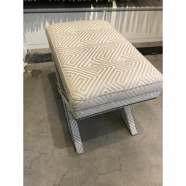 Transitional Scalamandre Upholstered X Bench For Sale In Boston - Image 6 of 12