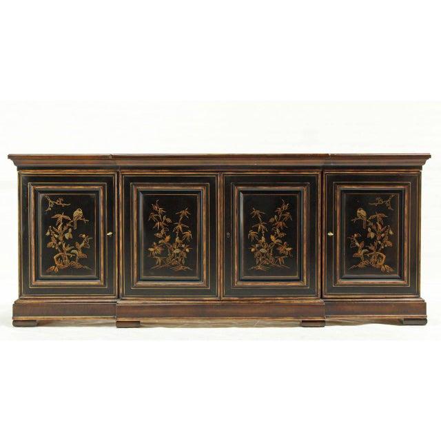 Very nice craftsmanship quality server cabinet by Drexel. Excellent vintage condition. Black walnut gold tones.