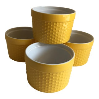 Yellow & White Custard Cups - Set of 4 For Sale
