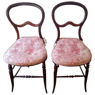 Mahogany Balloon-Back Chairs/Bennison Seats - a Pair For Sale