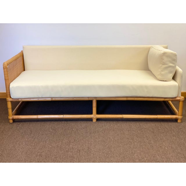 1960s Bamboo and Rattan Reupholstered Daybed For Sale - Image 12 of 12