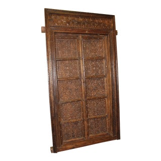 Rustic Antique Indian Style Hand Carved Haveli Wood Double Doors For Sale
