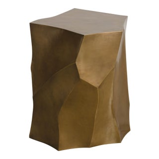 Bamboo Shaven Side Table - Brass by Robert Kuo, Hand Repoussé, Limited Edition For Sale