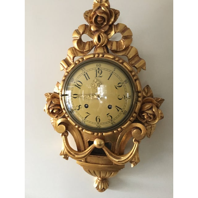 19th Century Craved Gold Leaf Wall Clock For Sale - Image 4 of 7