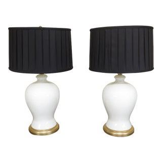 Ralph Lauren Crackle Porcelain Modern Lamps- A Pair For Sale