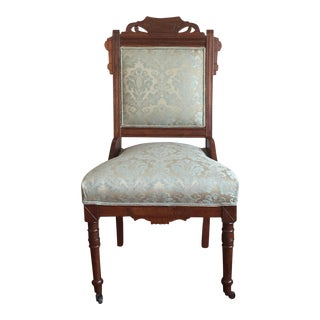 Antique Damask Upholstery Walnut East Lake Accent Chair For Sale