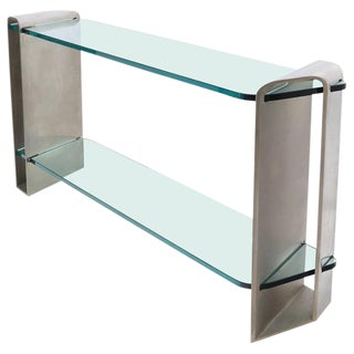 Two Tier Heavy Metal Stainless Steel Base Glass Top Console Table For Sale