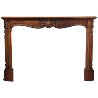 Antique French Louis XV Style Carved Fireplace Mantle, 19th Century For Sale