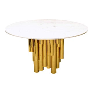 Contemporary Round Marble-Top Table With Brass Tubular Base For Sale