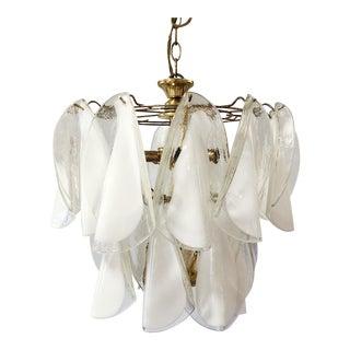 White Lattimo Glass Mazzega 20 Piece Murano Chandelier For Sale