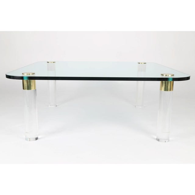 Pace Collection 1970S BRASS, GLASS AND LUCITE COCKTAIL TABLE BY PACE For Sale - Image 4 of 6