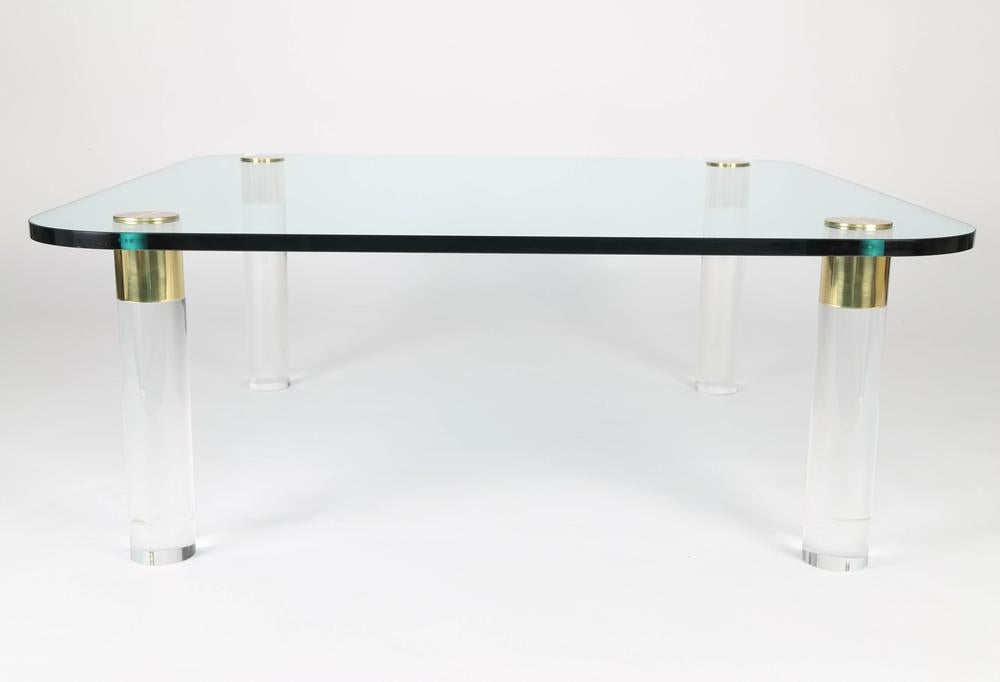 Pace Collection 1970S BRASS, GLASS AND LUCITE COCKTAIL TABLE BY PACE For  Sale   Image