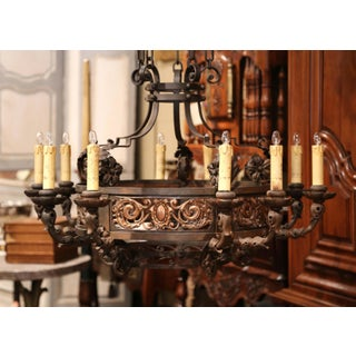 19th Century French Gothic Iron and Copper Two-Tier Fifteen Light Chandelier Preview