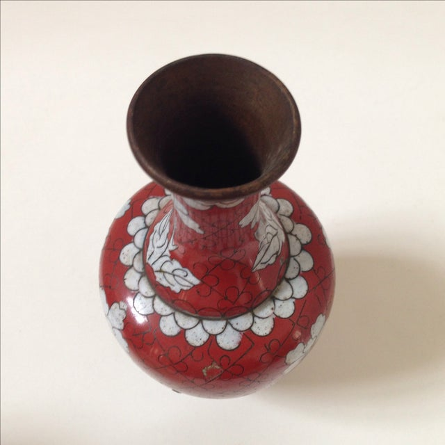 Red Cloisonne Vases - Pair - Image 10 of 11