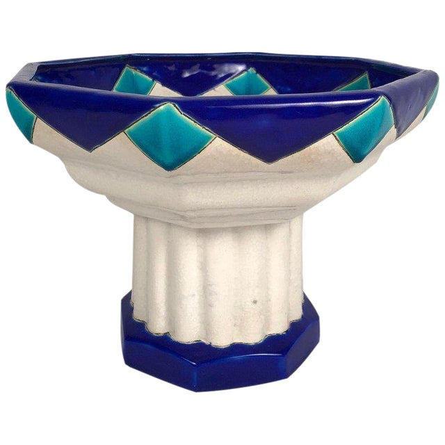 Art Deco Period Ceramic Compote by Boch Freres For Sale