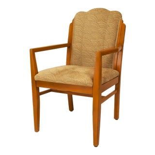 American Art Deco Scalloped Arm Chair For Sale
