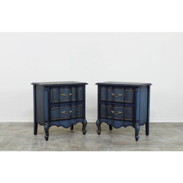 1960s Blue French Provincial Nightstands - a Pair For Sale - Image 10 of 10