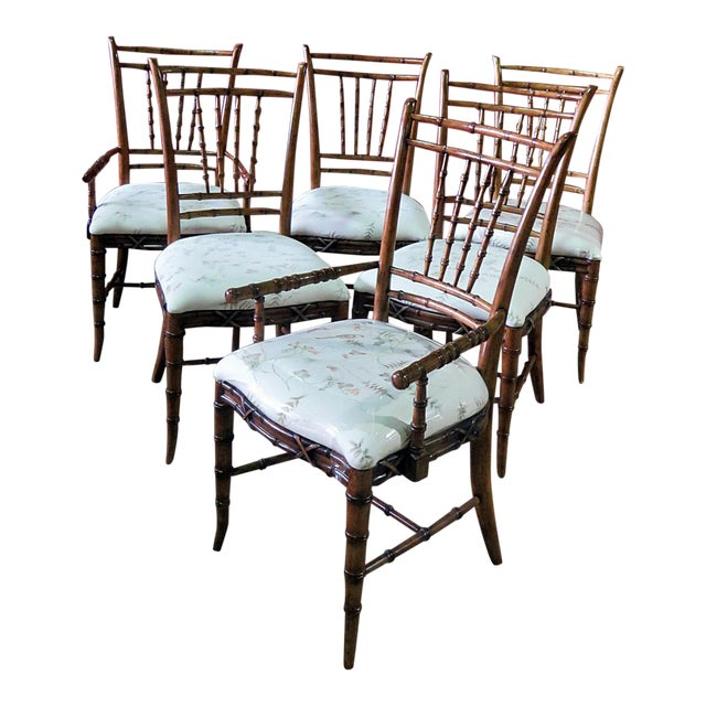 Mid Century Faux Bamboo Dining Chairs - Set of 6 For Sale