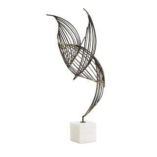 Abstract Arteriors Home Marble & Brass Sculpture